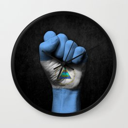 Nicaraguan Flag on a Raised Clenched Fist Wall Clock