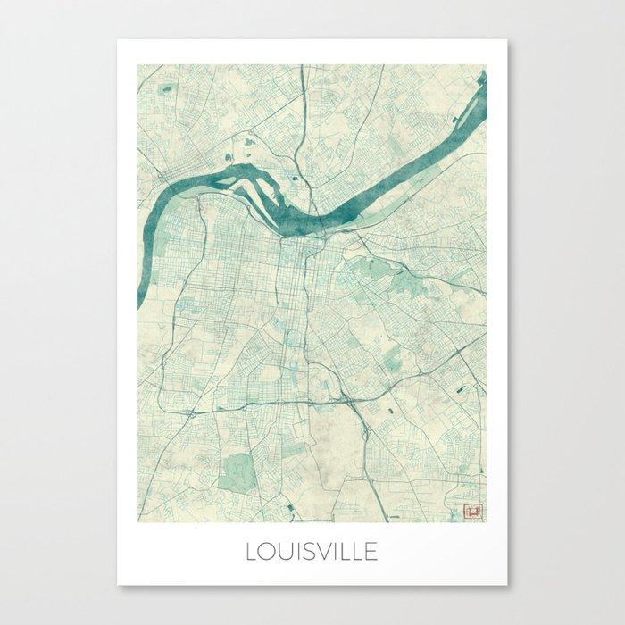 Louisville Map Blue Vintage Canvas Print