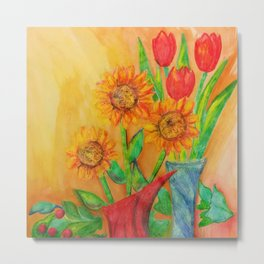 Little Sunflowers and Tulips Metal Print