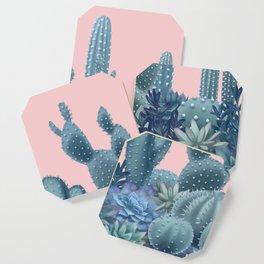 Milagritos Cacti on Rose Quartz Background Coaster
