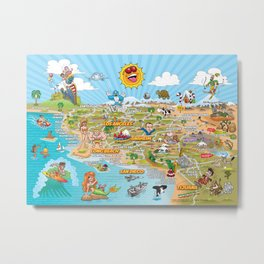 Cartoon Map of Southern California Metal Print