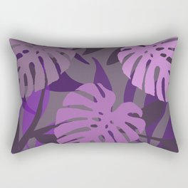 Three Big Violet Monstera leaves Rectangular Pillow