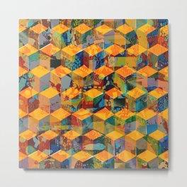 Tumbling Blocks Yellow Metal Print