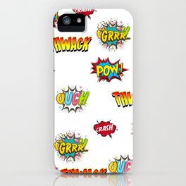 Pow Grrr Boom Thwack Comic Book Sounds Art iPhone Case