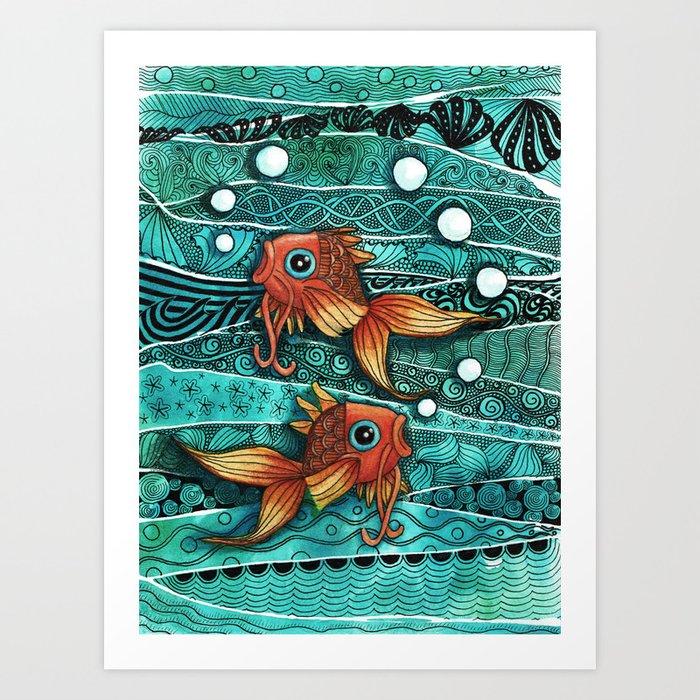 Baby Koi Tangle 2 Art Print