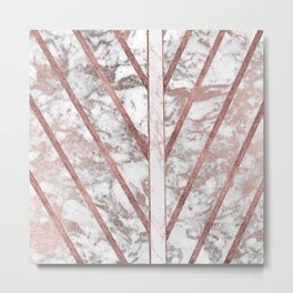 Modern faux rose gold white geometrical marble stripes Metal Print