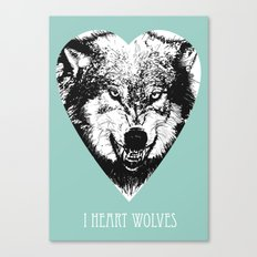 i heart wolves Canvas Print