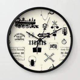 Railroad Symbols // Beige Wall Clock