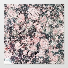 Rustic vintage black pastel pink marble Canvas Print