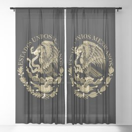 Mexican flag seal in sepia tones on black bg Sheer Curtain