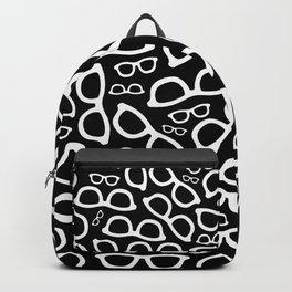Smart Glasses Pattern - White on Black Backpack