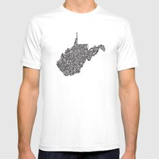 Typographic West Virginia White Mens Fitted Tee MEDIUM