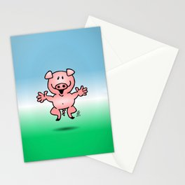 Cheerful little pig Stationery Cards