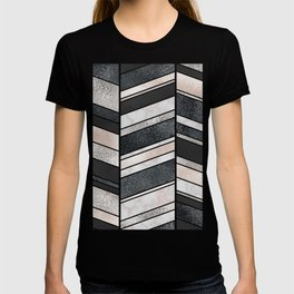 Shimmering Chevron Pattern - white pearl marble, silver and black T-shirt