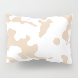 Large Spots - White and Pastel Brown Pillow Sham
