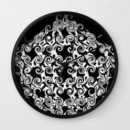 Curlicue Pentagon White On Black Wall Clock