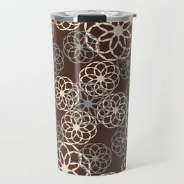 Brown and Silver Floral Pattern Travel Mug