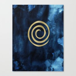 Infinity Navy Blue And Gold Abstract Modern Art Painting Canvas Print
