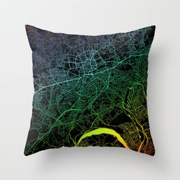 Essen, Germany, City, Map, Rainbow, Map, Art, Print Throw Pillow