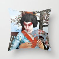geisha Throw Pillows featuring Geisha by Design Windmill
