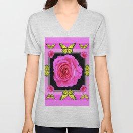 Lavender Fuchsia Pink Rose Butterfly Art Unisex V-Neck