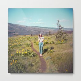 Daydreaming Girl in the Gorge - Rowena Crest Trail in the Columbia River Gorge - Film Photograph Metal Print
