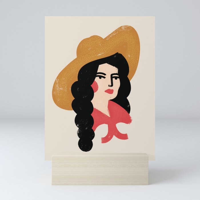 Abstract Cowgirl Mini Art Print