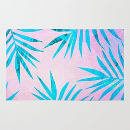Refreshing Geometric Palm Tree Leaves Tropical Chill Design Rug
