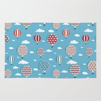 hot air balloons Area & Throw Rugs featuring Hot Air Balloons by Matt Andrews