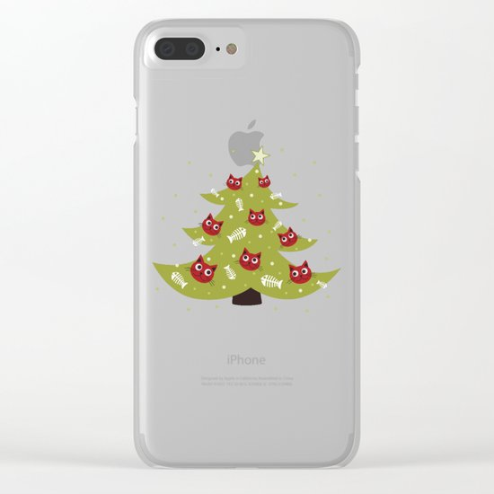 Cat Christmas Tree Clear iPhone Case