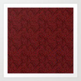 Retro Check Grunge Material Red Black Art Print