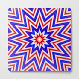 Red White and Blue Psychedelic Mandala Star Pattern Metal Print
