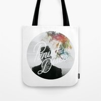 panic at the disco Tote Bags featuring Panic! at the disco round picture Too weird to live, too rare to die (non t) by Van de nacht