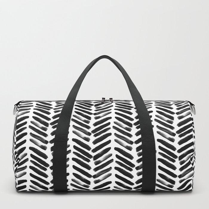 Simple black and white handrawn chevron - horizontal Duffle Bag