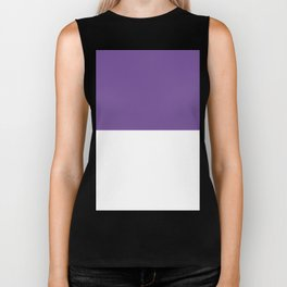 White and Dark Lavender Violet Horizontal Halves Biker Tank