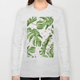 Simply Tropical White Gold Sands Dots and Palm Leaves Long Sleeve T-shirt