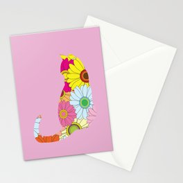 Cute Flower Power Hippie Cat Silhouette Stationery Cards