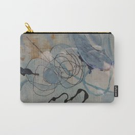 in sand cave - mixed media collage in teal, cream, black and gold by Carry-All Pouch