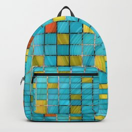 Block Aqua Blue and Yellow Art - Block Party 2 - Sharon Cummings Backpack