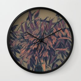 Ash-tree, olive, brown & blush Wall Clock