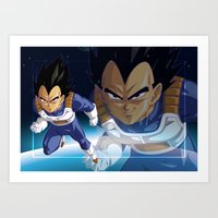 vegeta Art Prints featuring Vegeta by Neo Crystal Tokyo