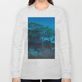 Vintage Japanese Woodblock Print Japanese Nara Park At Night Long Sleeve T-shirt
