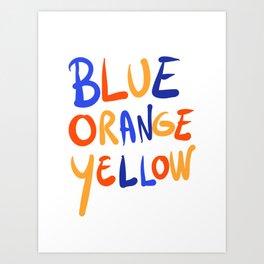 Blue Orange Yellow Lettering Graffiti by Emmanuel Signorino  Art Print