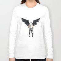 castiel Long Sleeve T-shirts featuring Castiel by Rebecca McGoran