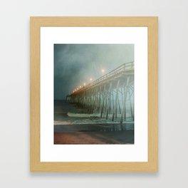 Kure Beach NC Fishing Pier at Night Painterly Framed Art Print