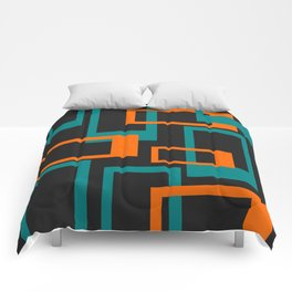 Mid Century Modern Layered Rectangles - Orange and Teal Comforters