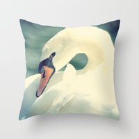 swan Throw Pillows featuring SWAN by Christina Lynn Williams