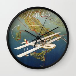 Vintage 1920s Island plane shuttle Italian travel Wall Clock