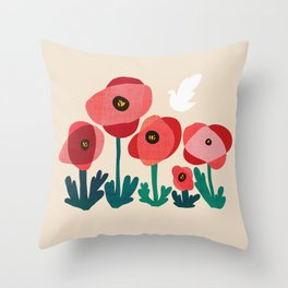 Poppy flowers and bird Throw Pillow
