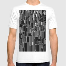 Tall city B&W inverted / Lineart city pattern Mens Fitted Tee White MEDIUM